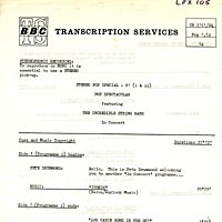 Purchase The Incredible String Band - 1973 BBC Transcript